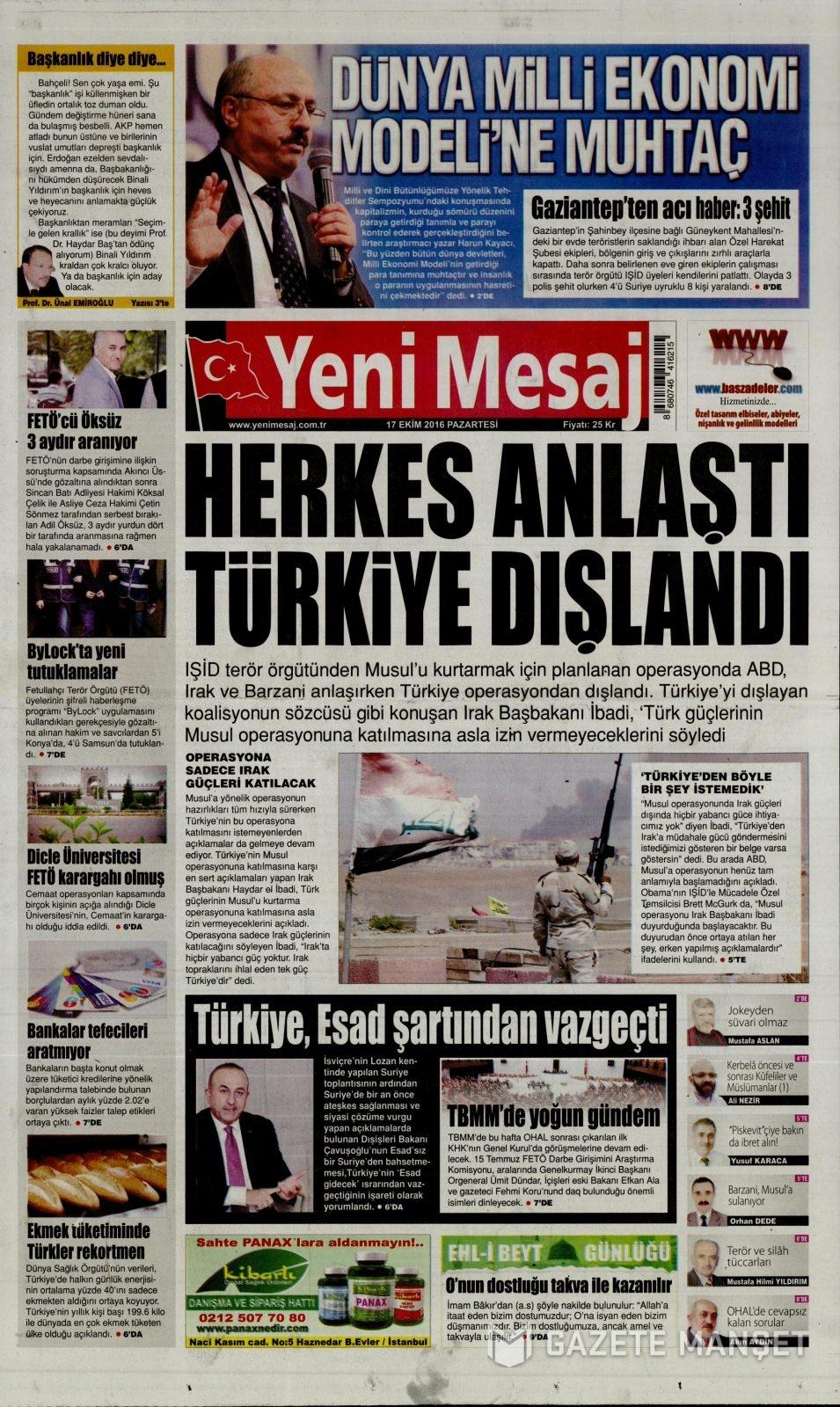 17 Ekim Pazartesi gazete manşetleri 25