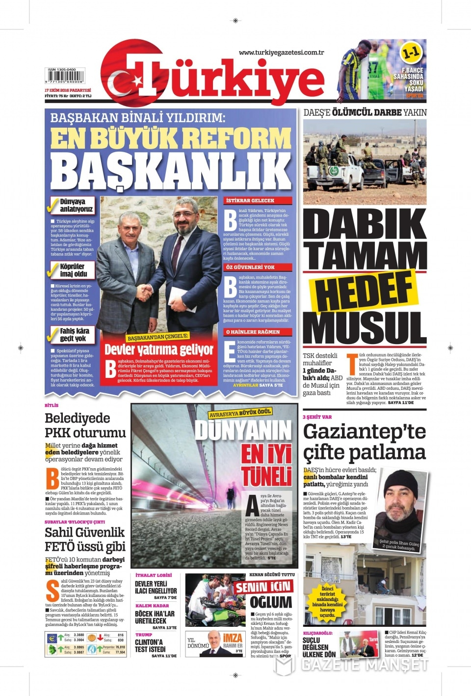 17 Ekim Pazartesi gazete manşetleri 3