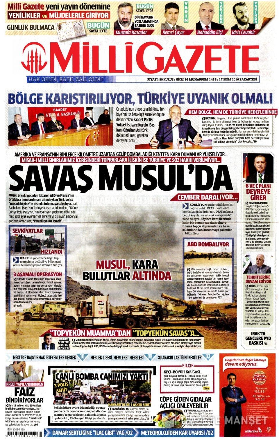 17 Ekim Pazartesi gazete manşetleri 30
