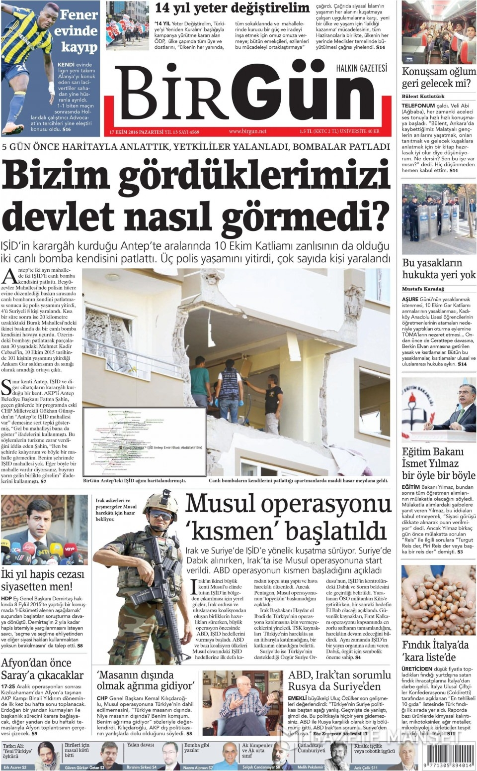17 Ekim Pazartesi gazete manşetleri 8