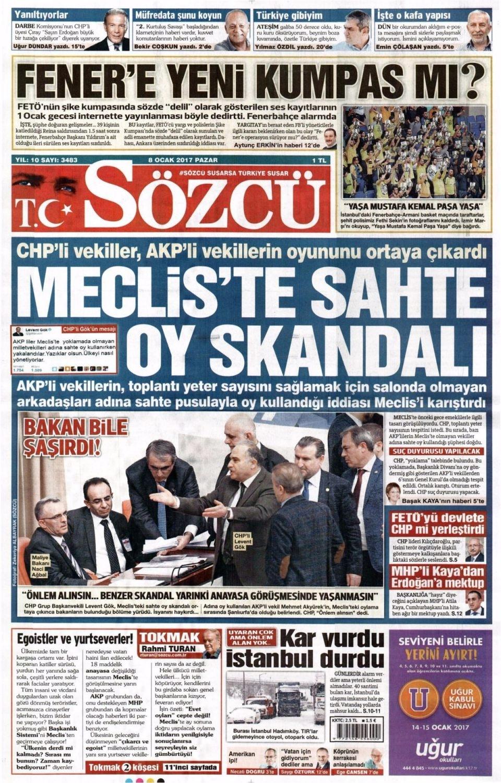 8 Ocak Pazar Gazete Manşetleri 12