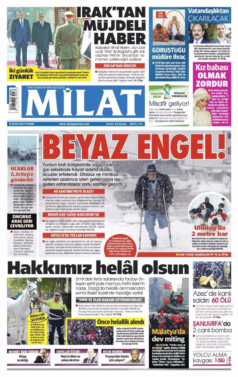 8 Ocak Pazar Gazete Manşetleri 14