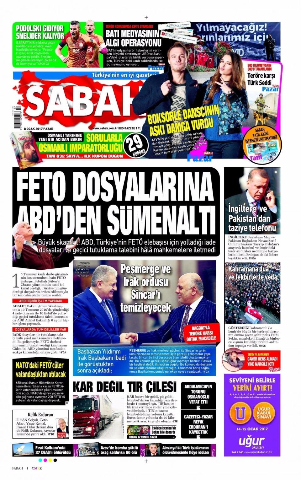 8 Ocak Pazar Gazete Manşetleri 3