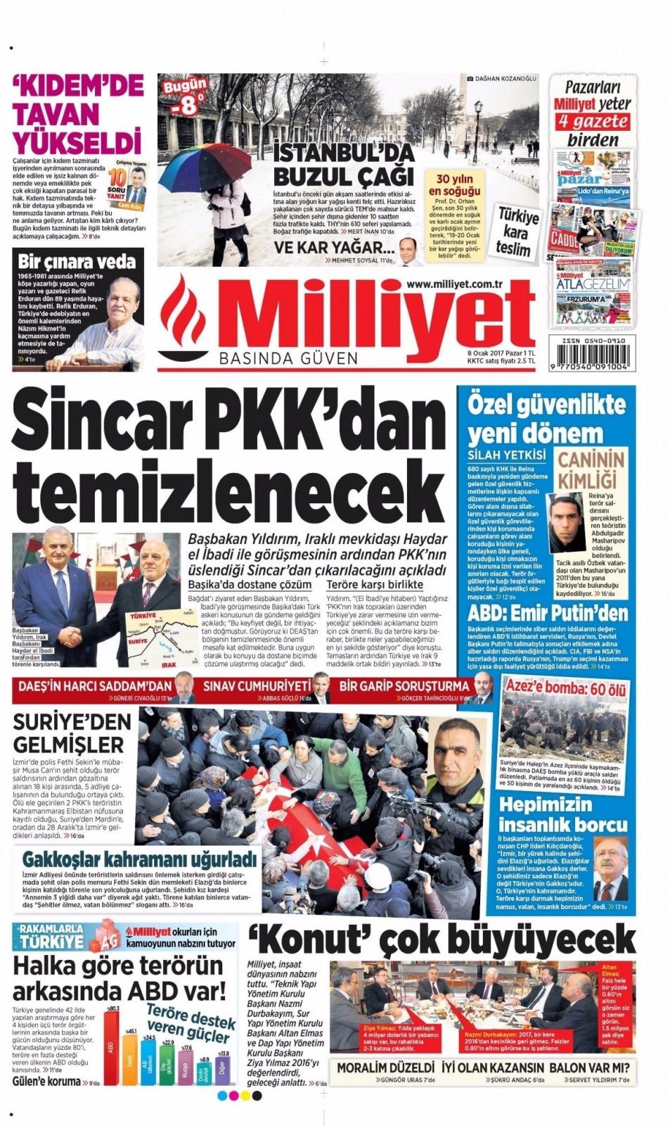 8 Ocak Pazar Gazete Manşetleri 4