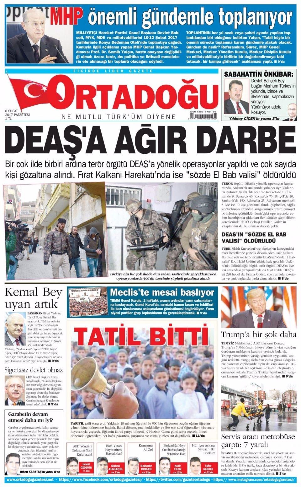 6 Şubat Pazartesi Gazete Manşetleri 16