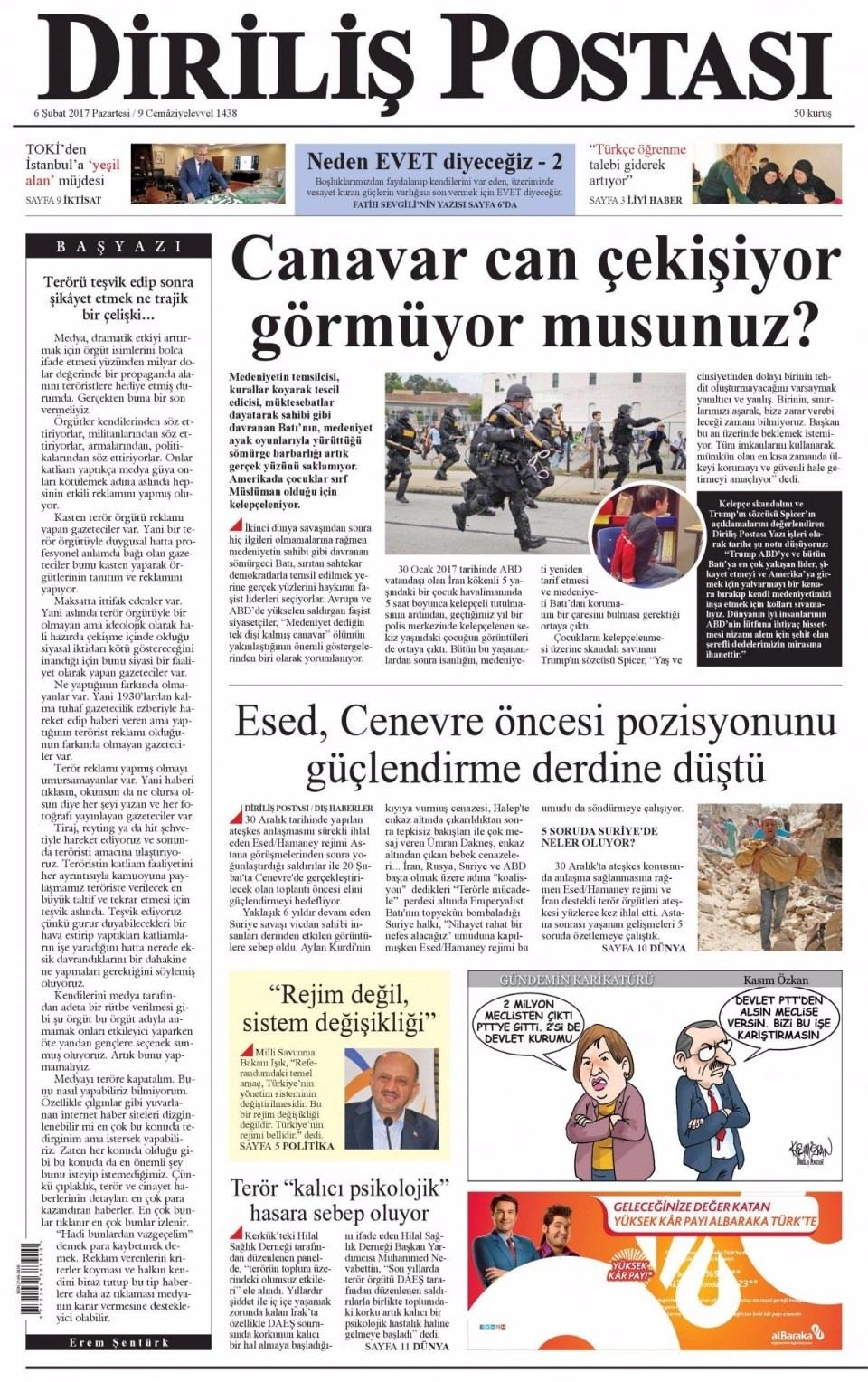 6 Şubat Pazartesi Gazete Manşetleri 21