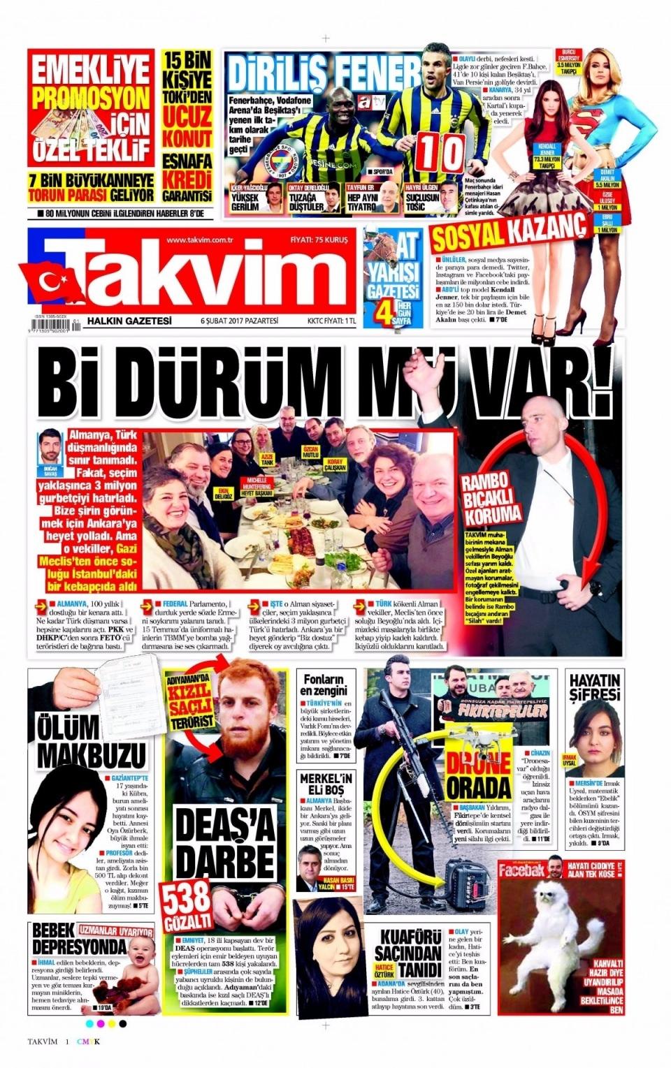 6 Şubat Pazartesi Gazete Manşetleri 8