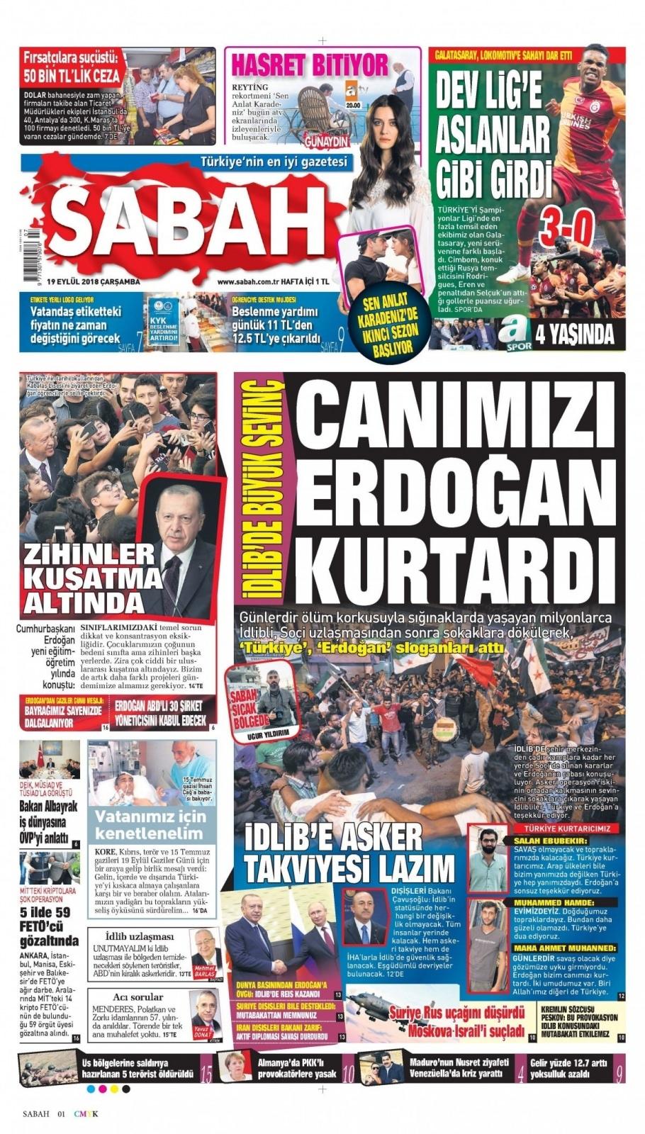 19 Eylül 2018 gazete manşetleri 1