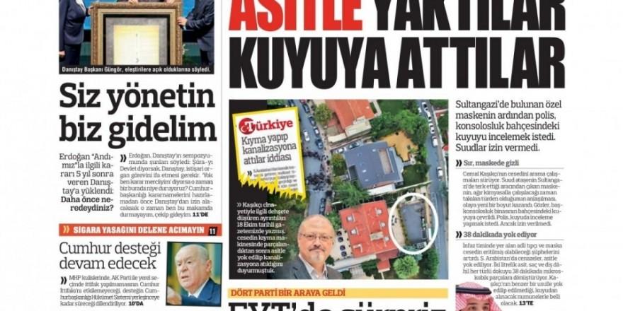 25 Ekim 2018 gazete manşetleri