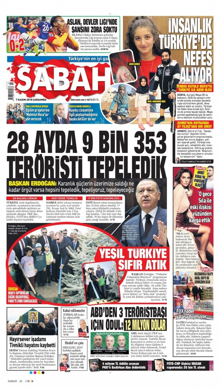 7 Kasım 2018 Gazete Manşetleri 1