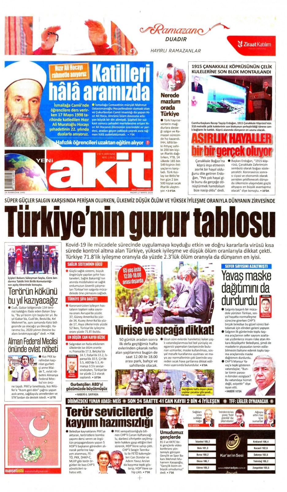 17 Mayıs gazete manşetleri 1