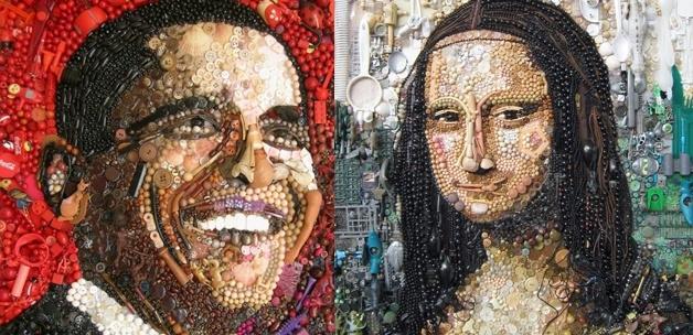 Çöp ve  düğmeden Obama ve Mona Lisa 1