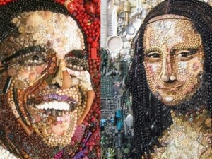 Çöp ve  düğmeden Obama ve Mona Lisa