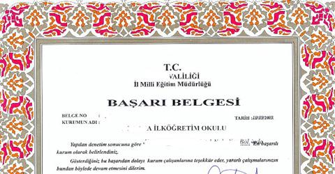 """""""Şahsa Münhasır Gizli Kapaklı 74 Başarı Belgesi"""""""