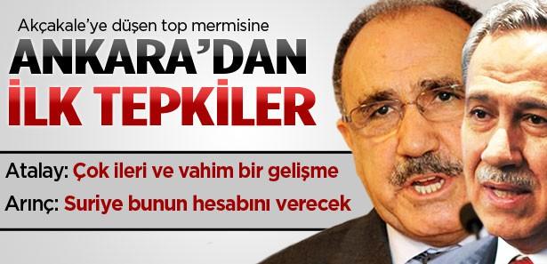 Akçakale'ye top mermisine Ankara'dan ilk tepkiler