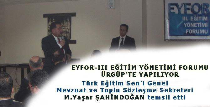 M.Yaşar ŞAHİNDOĞAN EYFOR IIIde konuştu