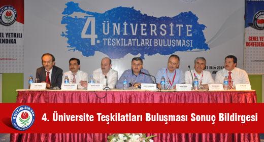 4. Üniversite Teşkilatları Buluşması Sonuç Bildirgesi