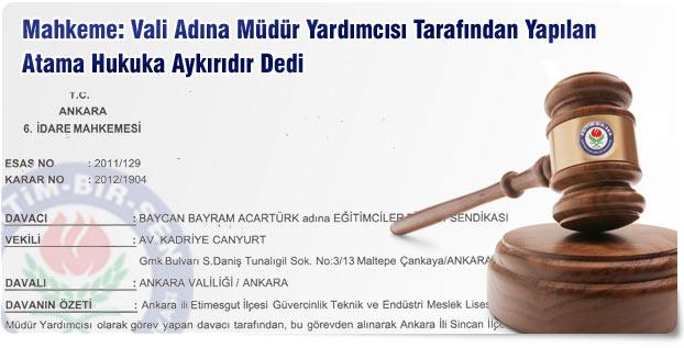 Mahkeme: Vali adına Vali Yardımcısı Atama Yapamaz