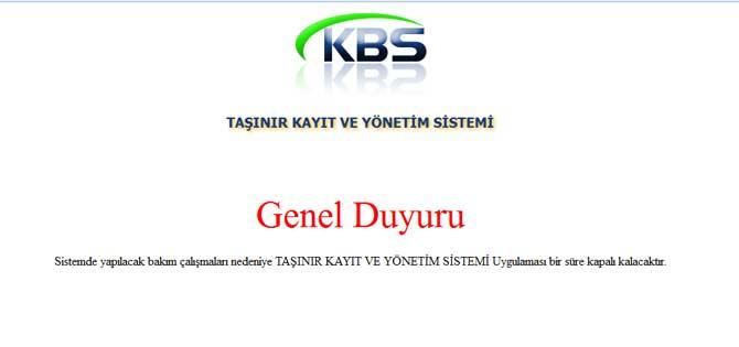 KBS Taşınır Kayıt Sistemi Yine Kapandı