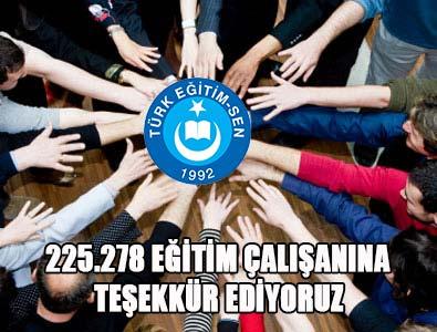 Türk Eğitim-Sen'den Teşekkür Mesajı