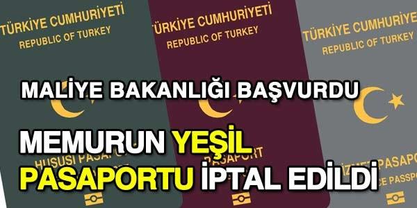 Kazanılmış aylığı göre verilen yeşil pasaporta, iptal kararı