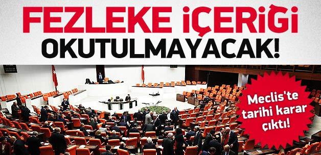 Meclis'te 4 bakanın fezlekesi okumadı
