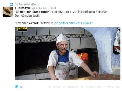 'Ekmek için Ekmeleddin' Twitter'ı salladı