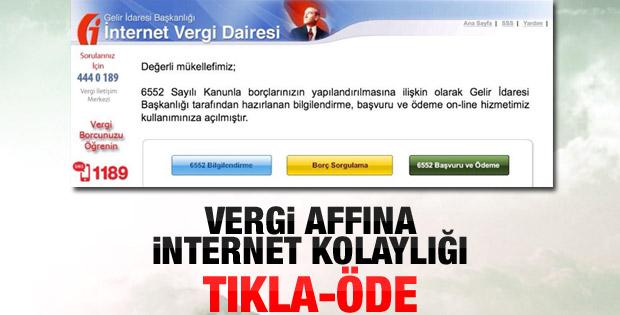 Vergi borcu ödemede internet devri
