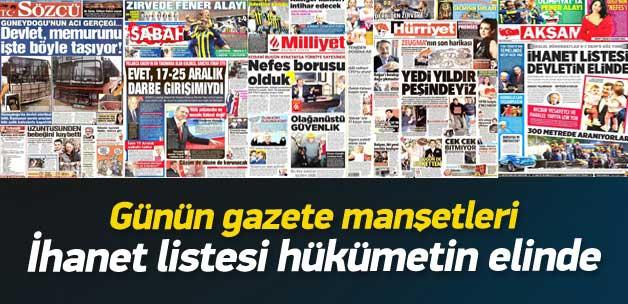 3 Kasım 2014 gazete manşetleri