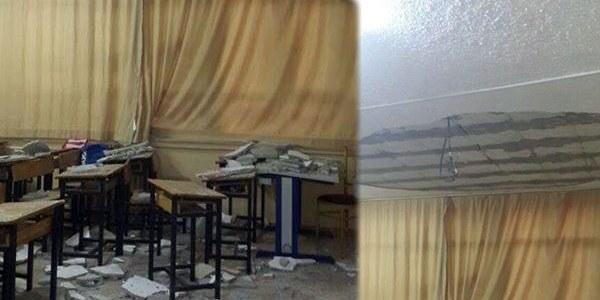 Okulda tavan sıvası öğrencilerin üzerine çöktü!