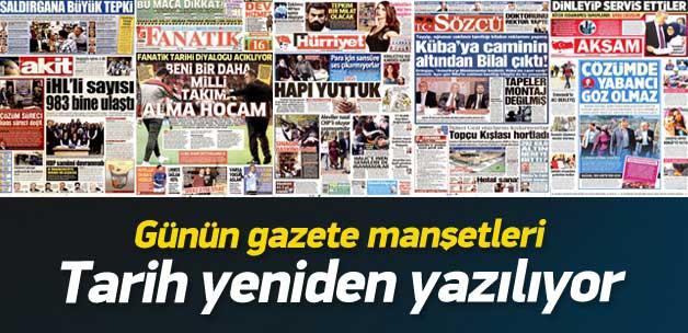 19 Kasım 2014 gazete manşetleri