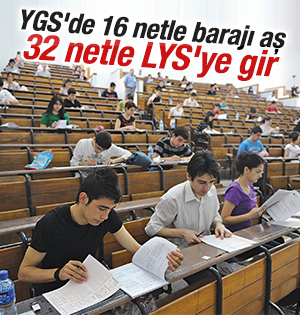 YGS'de 32 net ile LYS'ye girilebilir