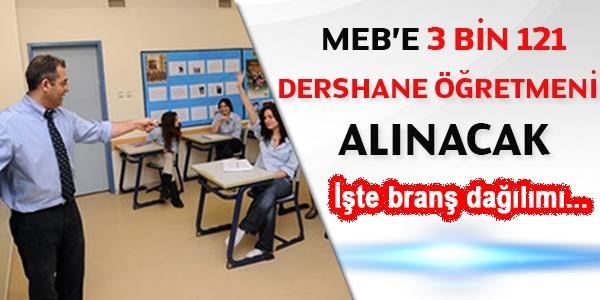 MEB, 3 bin 121 dershane öğretmeni alacak