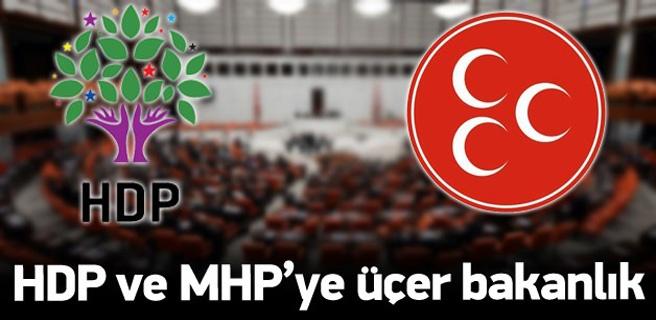 HDP ve MHP'nin üçer bakanlığı olacak!