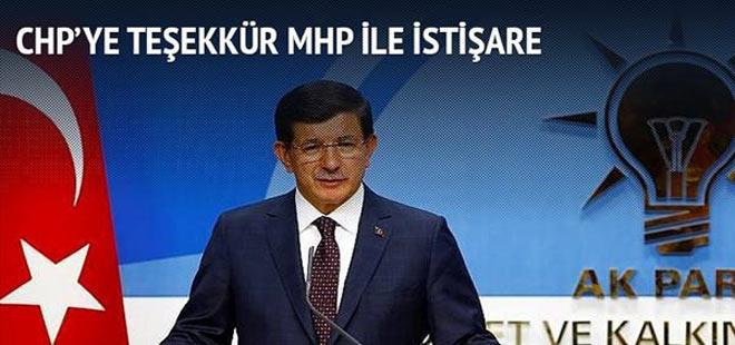 CHP'ye teşekkür MHP ile istişare
