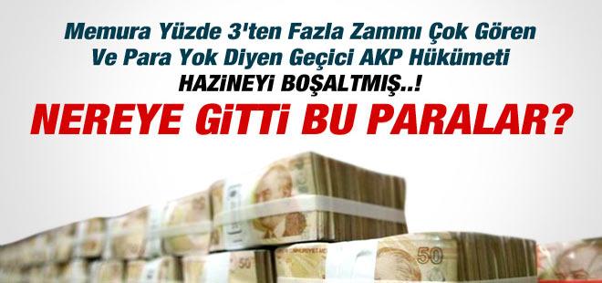 Geçici AKP Hükümeti HAZİNEYİ BOŞALTMIŞ