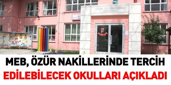 MEB, Özür naklinde okulları açıkladı