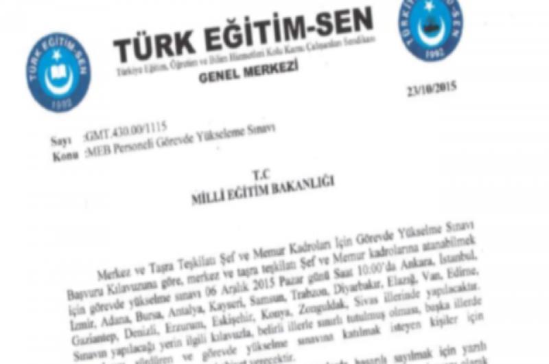 Türk Eğitim-Sen'den MEB'e Görevde Yükselme Başvurusu