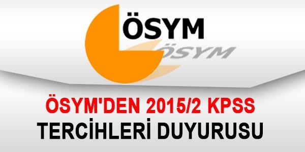 ÖSYM'den 2015/2 KPSS duyurusu