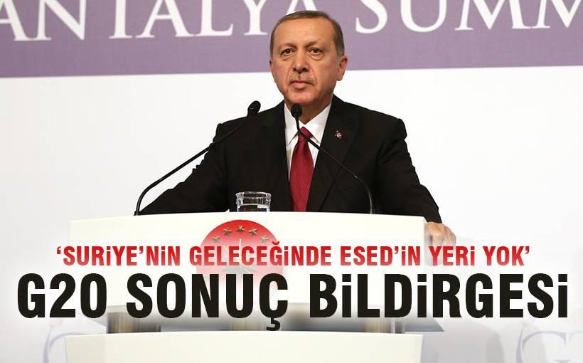 Erdoğan, G20 sonuç bildirgesini açıkladı