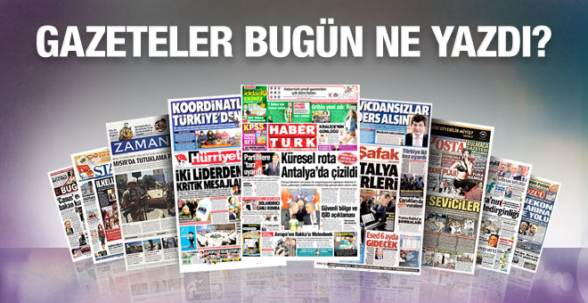 19 Kasım 2015 gazete manşetleri