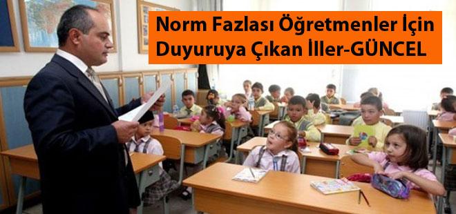 Norm Fazlası Öğretmenler İçin Duyuruya Çıkan İller - 19 -