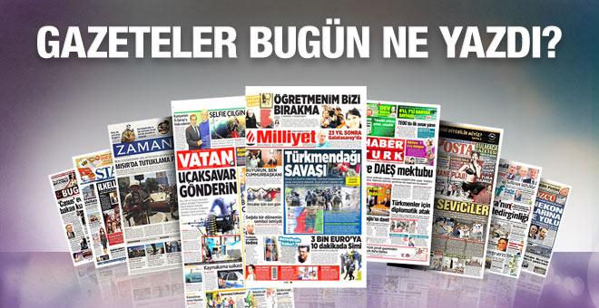 24 Kasım 2015 gazete manşetleri