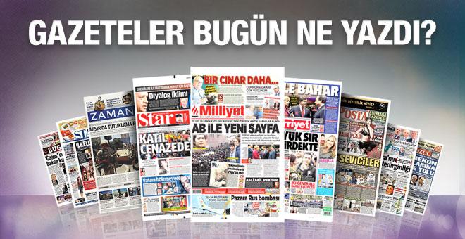 30 Kasım 2015 gazete manşetleri