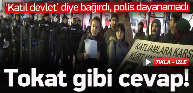 Katil devlet diye bağıran kadına polisten kapak!