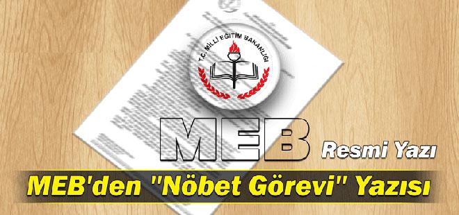 MEB'den ''Nöbet Görevi'' Yazısı