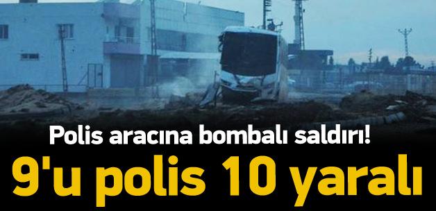Polis aracına bombalı saldırı: 10 yaralı