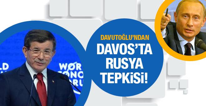Davutoğlu'ndan Davos'ta Rusya'ya sert tepki