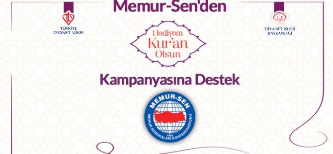 Memur-Sen'den 'Hediyem Kur'an Olsun' Projesine Destek
