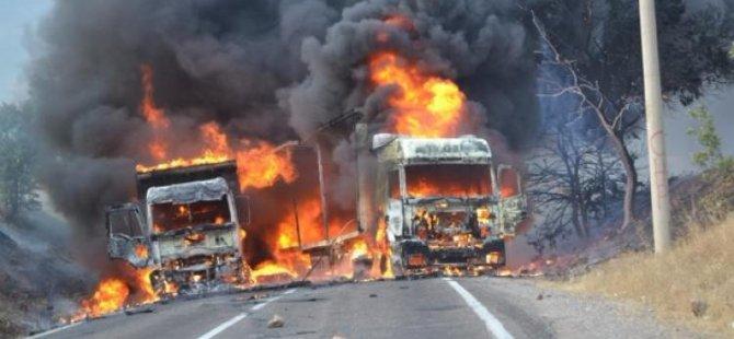PKK'lı teröristler yol kesti: TIR yaktı!